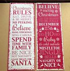Red & White Festive Christmas Rules Metal Wall Hanging Plaque Sign Decoration