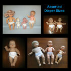 Assorted Sizes White DOLL DIAPERS with Tabs Handmade by the Crafty Grandmas