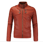 2018 Black Men's  Leather Jacket fashion Slim fit Biker Motorcycle jacket Red