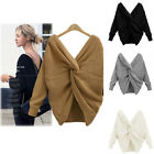 Sexy Women Warm Knitted V-Neck Long Sleeve Pullover Loose Jumpers Sweater Tops