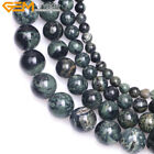 New Natural Round Dark Blue Rhyolite Kambaba Jasper Beads for Jewelry Making 15""