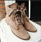 Lady Suede Flat Round Toe Brogue Lace Ups Tassels Decor Mid Top Retro Boots G993
