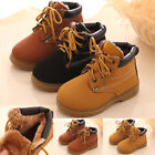 Winter Boys Girls Kids Fur Lined Ankle Martin Snow Boots Thermal Lace Up Shoes