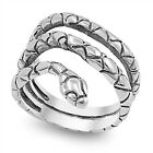 Snake Wide Coil Animal Head Ring New .925 Sterling Silver Band Sizes 6-10