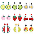 Fashion Fruit Lemon Strawberry Statement Dangle Ear Hook Earrings Woman Jewelry