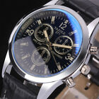 Mode Men's Military Date Leather Stainless Steel Sports Quartz Wrist Watch Uhr