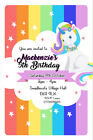 Personalised Rainbow Unicorn Birthday Party Invites inc envelopes UNI14