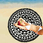 South Beach Black Geometric Fringed Sun Bed Round Beach Luxurious Summer Towel