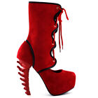 Show Story Hot Black/Red Two Tone Lace-Up Bone Heel Platform Party Boot