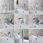 Modern Bathroom Sink Mixer Tap Waterfall Basin Faucet One/Twin Hole Handle Brass