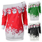 Women Santa Claus Skew Neck Pullover Cotton Christmas Girl Sweatshirt Festival