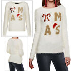 Heart And Soul Womens 3D Sequin Xmas Jumper Ladies Eyelash Knit Festive Pullover