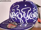 BIG NY FITTED CAP, BLING FLAT PEAK PURPLE HAT, HIPHOP