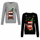 Heart And Soul Womens Sparkly Festive Bus Christmas Jumper Ladies Sequin Top