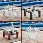 High Gloss Glass Coffee Table Square White Brown Black Top 2 Tier 8 mm Tempered