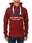 Superdry Mens Sweat Shirt Store Tri Hoodie Sweater in Red Hook Grit