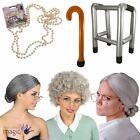 Grey Granny Old Woman Lady Grandma Nanna OAP Fancy Dress Costume Accessory Lot