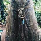 Quality Moon Crescent Hair Clip Natural Crystal Pendant Hairpin Jewelry BA