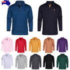 Men Long Sleeve Half Button Plain Slim Golf Sports Winter Warm Basic Polo Shirts