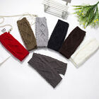 Women Ladies Long Gloves Fingerless Winter Warmer Mittens Arm Knit Solid Color