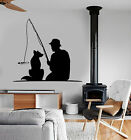 Vinyl Wall Decal Fisherman With Dog Pet Fishing Rod Stickers (2258ig)