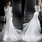 Lace Mermaid Wedding Dresses Long Sleeve High Neck Bridal Gowns Custom Made