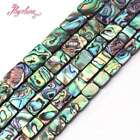 """Natural Rectangle Mutil-Color Abalone Sea Shell Rainbow Stone Loose Beads 15""""DIY"""