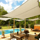 Beige Custom 5-12FT Rectangle Waterproof Sun Shade Sail Garden Pool Patio Cover
