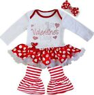 Baby My 1st Valentine's Day Red Polka Dots Bodysuit Tutu & Legging Pants Outfit