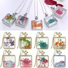 Glass Resin Real Dried Flower Daisy Rose Pendant Necklace Chain Jewelry Gift