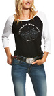 "Ariat ""Best In The Wild West"" Raglan Sleeve Tee - Black/White"