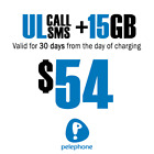 Prepaid SIM Card Israel - Unlimeted Calls & SMS 15GB for 30 Days by Pelephone