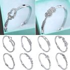 Wedding Bridal Women Sliver Plated CZ Love Heart Cuff Bangle Bracelet Jewelry