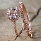 New Unique 18K Rose Gold Filled Wedding Ring Set Fashion Women Jewelry Set US