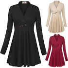 2018 Women Long Sleeve Slim Fit Shirts Ruched Side Pleated Flared Hem Tunic Tops