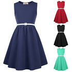 6-12T Girls Formal Dress 1950s Vintage PINUP Swing Evening Kids Party Gown