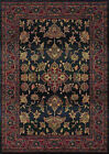 Blue Traditional - Persian/Oriental Vines Leaves Border Area Rug Floral 836F4