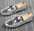 Men gold casual loafers metal buckle patent leather hairdresser shoes slip on ww