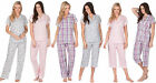 Ladies 100% COTTON Pyjamas Summer Cropped 3/4 Full Traditional Collar Buttoned