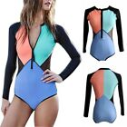 Women One Piece Long Sleeve Padded Swimsuit Bikini Bathing Beach Surfing Wear US