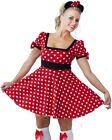 WOMENS MINNIE MOUSE COSTUME FANCY DRESS - LADIES SIZE 8-12 - FREE HEADBAND