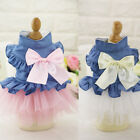 Pet Clothes Puppy Princess Bowknot Skirt Denim Lace Wedding Dress for Small Dog