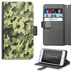 Green Camo Printed Deluxe PU Leather Wallet Phone Case, Flip Phone Case