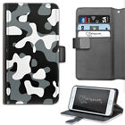 Hairyworm Black And White Camo Printed Deluxe PU Leather Wallet Flip Phone Case