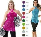 Внешний вид - Varsity Tunic Dance Costume TOP ONLY Color Choice Foil Sequin Child & Adult New