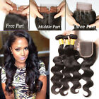 US STOCK 3 Bundles Brazilian Hair  Body Wave with Lace closure Human Hair Weave