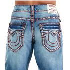 True Religion Men's Straight Relaxed Chainstitch Jeans w/ Flaps in Direct Arrow