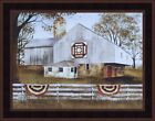 AMERICAN STAR QUILT BLOCK BARN by Billy Jacobs 16x20 FRAMED PRINT Patriotic Flag