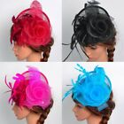 US Women Fascinator Hat Feather Floral Headdress Cap Cocktail Fishnet Headband