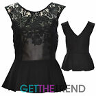 Womens Celeb Inspired PVC Trim Crochet Lace Black Party Peplum Skater Top